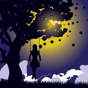 Girl on swing silhouette at night - stock illustration