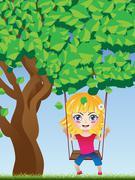 Girl on Swing Stock Illustration
