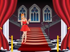 Girl Stands near Stairs Stock Illustration