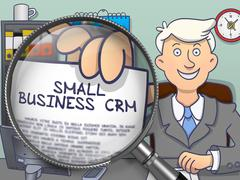 Small Business CRM through Lens. Doodle Concept Stock Illustration