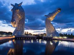 The Kelpies at Helix Park in late evening light, Falkirk, Scotland, Uk - stock photo