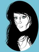 Girl with Black Hair Lineart Stock Illustration