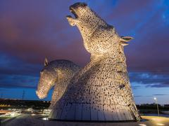 The Kelpies at Helix Park in late evening light, Falkirk, Scotland, Uk Stock Photos