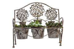 Front View of isolated Vintage Rusted Wrought Iiron Bench Stock Photos