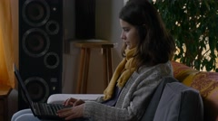 Young attractive woman hipster computer laptop 4k modern girl technology Stock Footage
