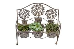 Vintage  Rusted Wrought  iron Bench Fitted with Plant Pots Stock Photos