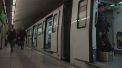 BARCELONA, People using train, underground, metro, subway Stock Footage