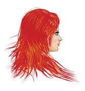 Girl with red hair - stock illustration