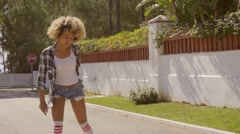 Girl Skates On Roller Skates. Stock Footage