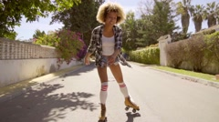 Young Woman On Roller Skates Enjoying The Summer Stock Footage