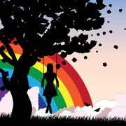 Girl on swing and rainbow - stock illustration