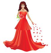 Red haired girl in red dress Stock Illustration