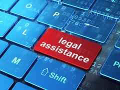 Law concept: Legal Assistance on computer keyboard background - stock illustration