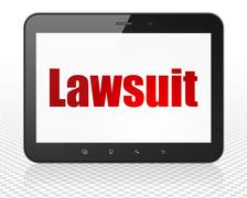 Law concept: Tablet Pc Computer with Lawsuit on display - stock illustration