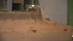 Circular table saw cutting wood in the sawmill - stock footage