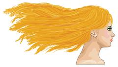 Side-view portrait of blond girl Stock Illustration
