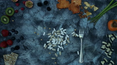 4k food composition on a vintage background with drugs - stock footage