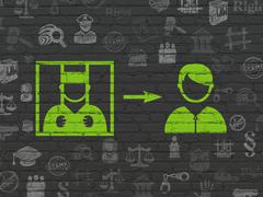 Law concept: Criminal Freed on wall background - stock illustration