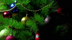 Christmas decorations on a beautiful tree Stock Footage