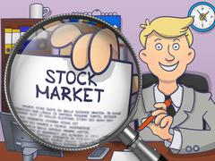 Stock Market through Magnifying Glass. Doodle Style - stock illustration