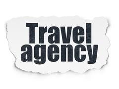 Vacation concept: Travel Agency on Torn Paper background - stock illustration