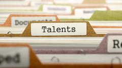 Talents Concept on File Label - stock illustration