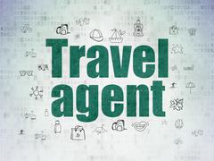 Vacation concept: Travel Agent on Digital Data Paper background Stock Illustration