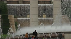 ULTRA HD 4K real time shot,fountains in Barcelona at MNAC - stock footage