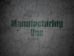 Manufacuring concept: Manufacturing Line on grunge wall background - stock illustration