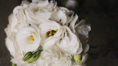 Around the wedding eustoma bouquet closeup Stock Footage
