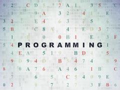 Software concept: Programming on Digital Data Paper background - stock illustration