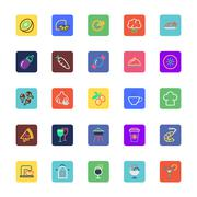 Food, Drinks, Fruits and Vegetables Colored Icons - stock illustration