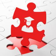 Learning concept: Student on puzzle background - stock illustration