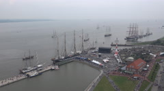 4k High angle zoom in russian tall ship Kruzenshtern in Bremerhaven harbor Stock Footage