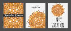 Templates with Floral mandala pattern and ornaments. Vector Flyer oriental Stock Illustration