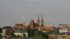 Wroclaw, Ostrow Tumski, Poland. View from a bank of the Odra river. Stock Footage