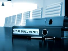 Legal Documents on Office Binder. Toned Image - stock illustration