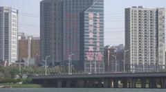 Cityscape Shenyang China V2 _ Bridge over the Hun River Stock Footage