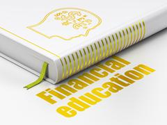 Learning concept: book Head With Finance Symbol, Financial Education on white Stock Illustration