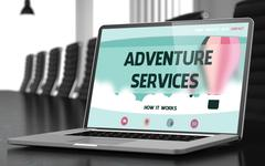 Adventure Services on Laptop in Conference Hall Stock Illustration