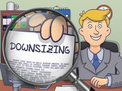 Downsizing through Lens. Doodle Concept - stock illustration