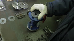 Install the Gasket in the Valve. Hands in Gloves - stock footage