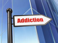 Medicine concept: sign Addiction on Building background Stock Illustration