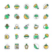 Food, Drinks, Fruits, Vegetables Vector Icons Set Stock Illustration