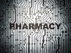Health concept: circuit board with Pharmacy - stock illustration