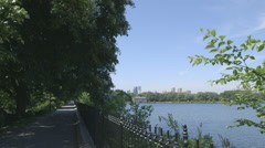 New York Jacqueline Kennedy Onassis Reservoir in Central Park Stock Footage