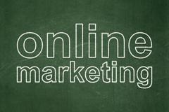 Advertising concept: Online Marketing on chalkboard background - stock illustration