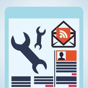 Blogging design. social media icon. Isolated illustration , vector Stock Illustration