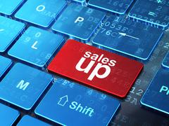 Marketing concept: Sales Up on computer keyboard background Stock Illustration