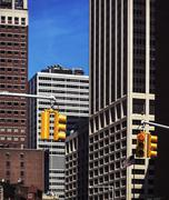 Traffic lights on the streets of Manhattan Stock Photos